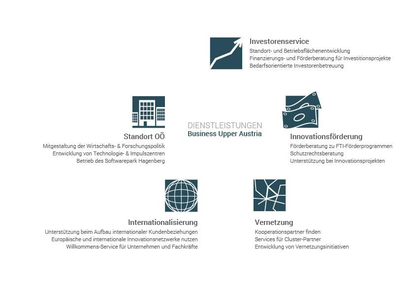 Infografik zu Leistungen Business Upper Austria